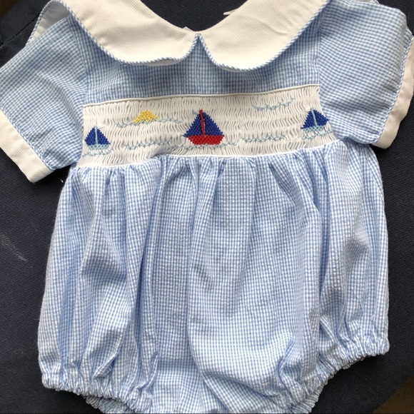 d8dcdd50f669 EUC Baby Boy Sailboat Bubble with Peter Pan collar.  M 5aba64a43a112ed0639f0b79